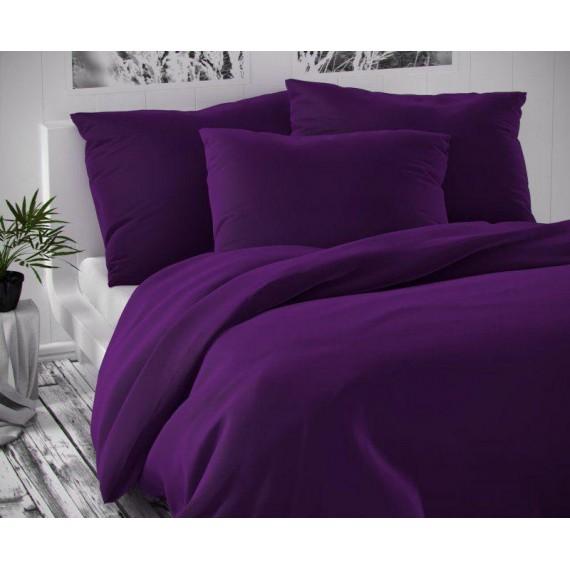 Saténové francúzske predĺžené obliečky tmavo fialové LUXURY COLLECTION 1 + 2, 240x220, 70x90cm