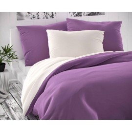 Saténové francúzske obliečky LUXURY COLLECTION biele / fialové 1 + 2, 200x200, 70x90cm