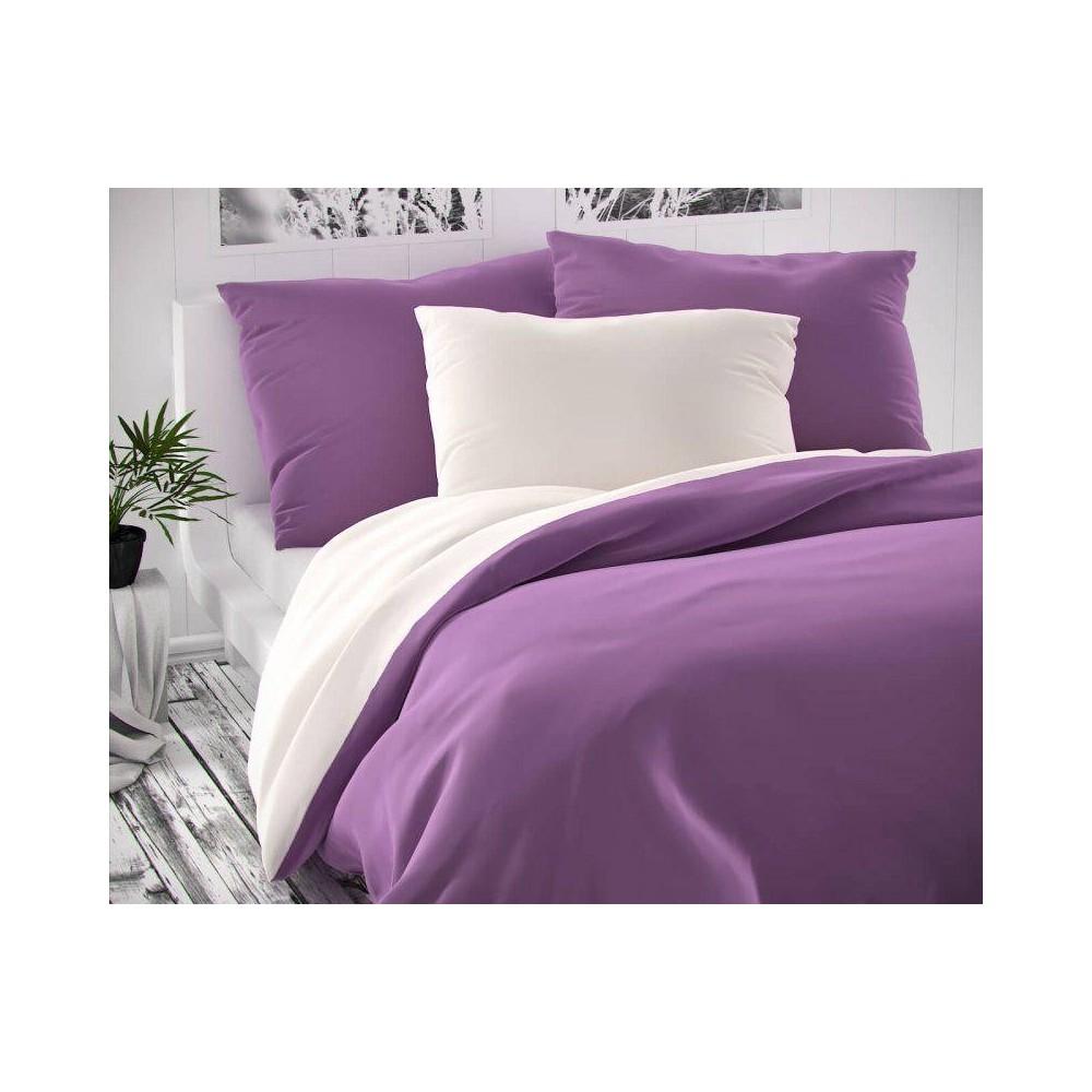 Saténové francúzske obliečky LUXURY COLLECTION biele / fialové 1 + 2, 220x200, 70x90cm
