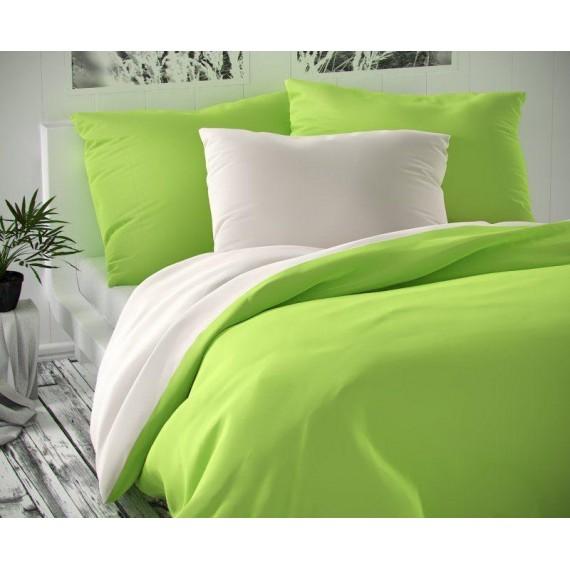Saténové francúzske obliečky LUXURY COLLECTION biele / svetlo zelené 1 + 2, 220x200, 70x90cm