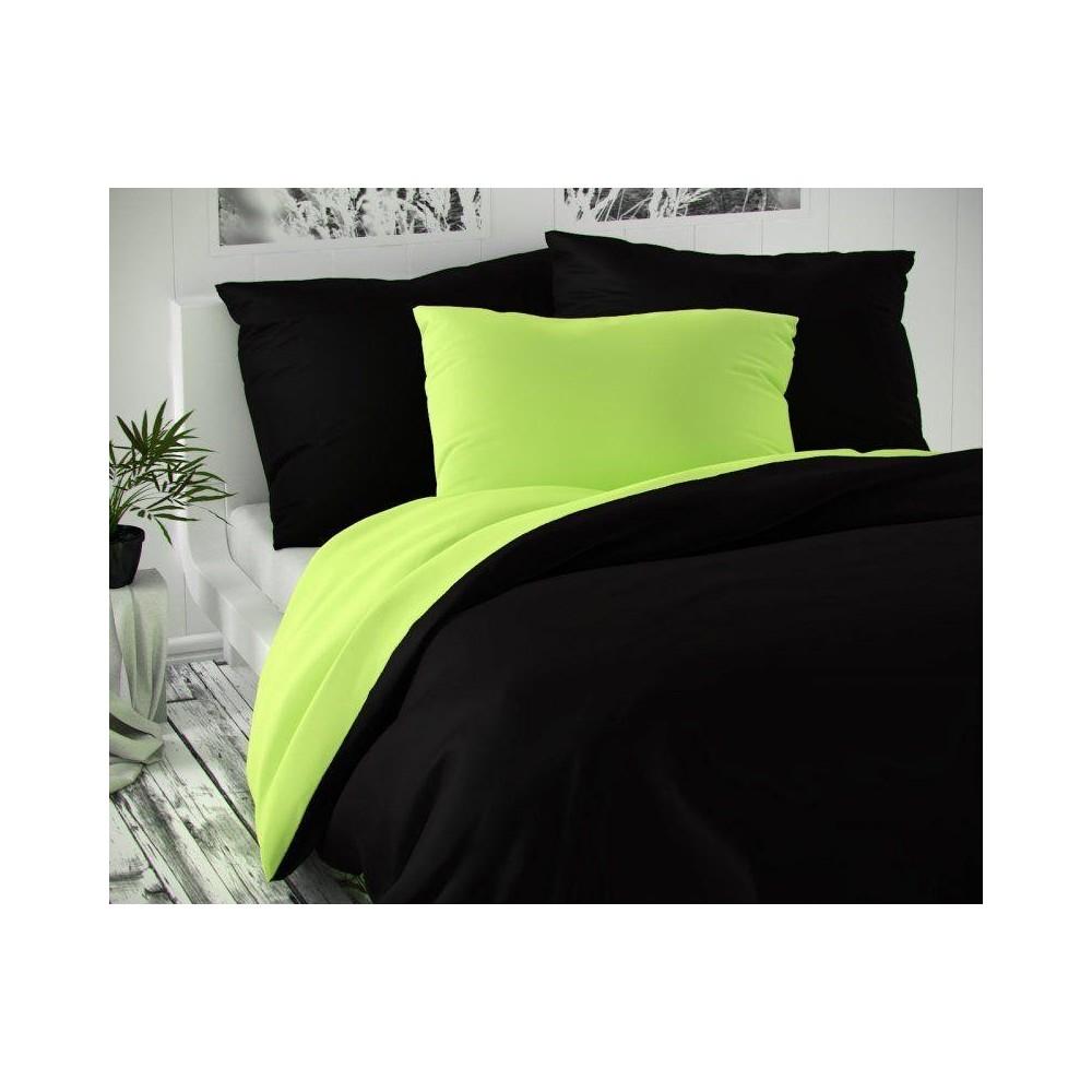 Saténové francúzske obliečky LUXURY COLLECTION čierne / svetlo zelené 1 + 2, 200x200, 70x90cm