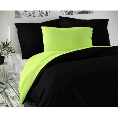 Saténové francúzske obliečky LUXURY COLLECTION čierne / svetlo zelené 1 + 2, 220x200, 70x90cm