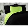 Saténové francúzske obliečky LUXURY COLLECTION čierne / svetlo zelené 1 + 2, 240x200, 70x90cm