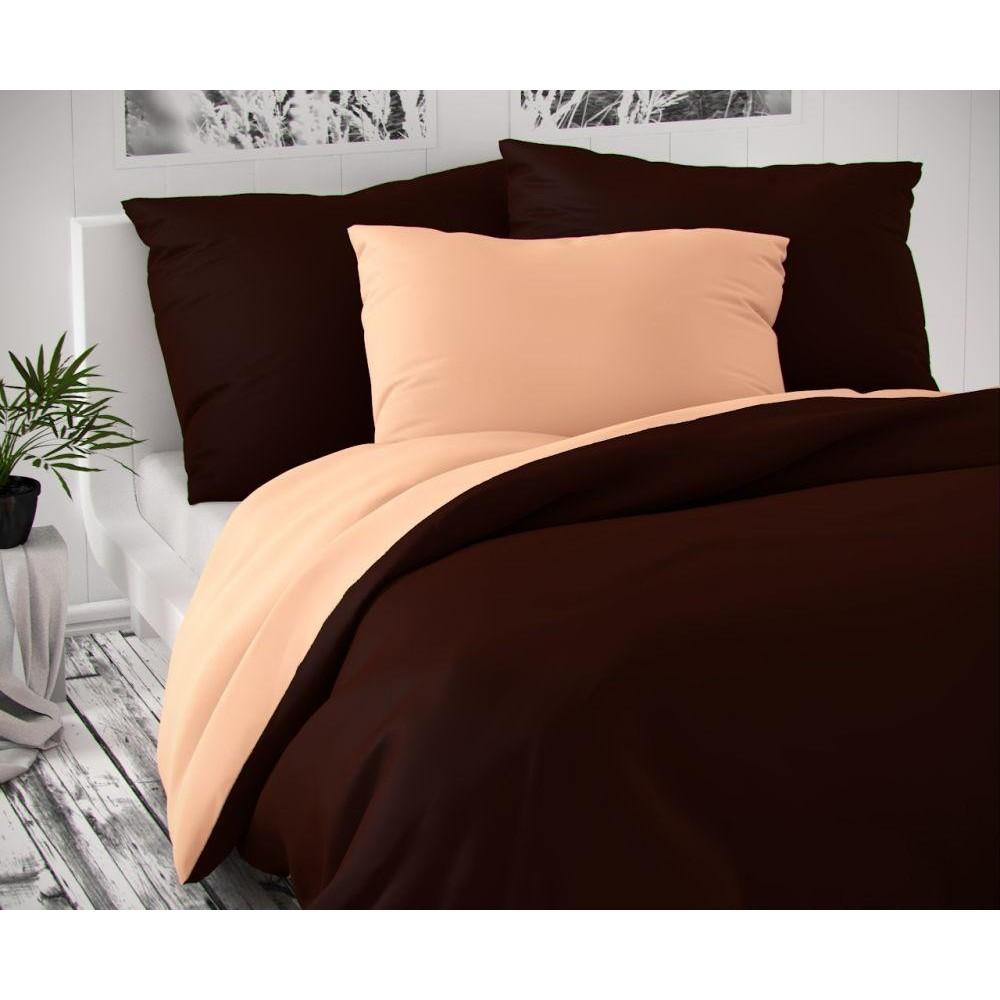 Saténové postel'né obliečky LUXURY COLLECTION tmavo hnedé / lososové 140x200, 70x90cm