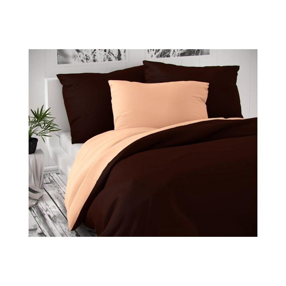 Saténové francúzske predĺžené obliečky LUXURY COLLECTION tmavo hnedé / lososové 1 + 2, 240x220, 70x90cm