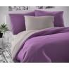 Saténové francúzske predĺžené obliečky LUXURY COLLECTION svetlo sivé / fialové 1 + 2, 240x220, 70x90cm