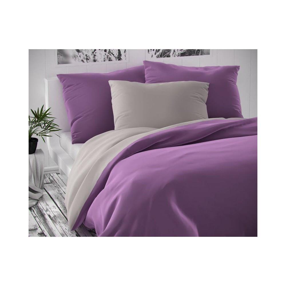 Saténové francúzske obliečky LUXURY COLLECTION svetlo sivé / fialové 1 + 2, 200x200, 70x90cm