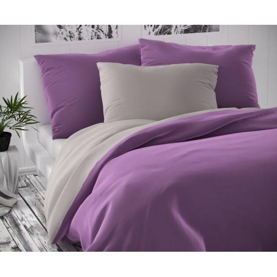 Saténové francúzske obliečky LUXURY COLLECTION svetlo sivé / fialové 1 + 2, 220x200, 70x90cm