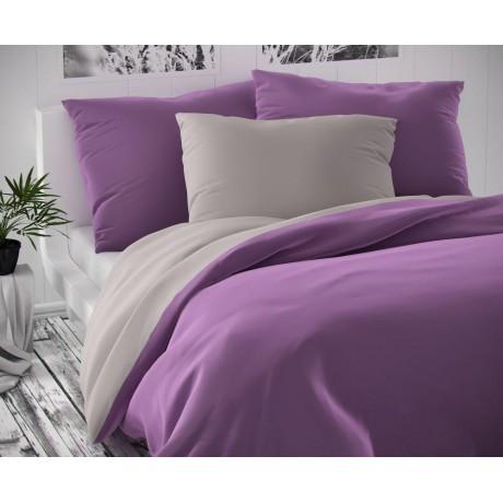 Saténové postel'né obliečky LUXURY COLLECTION svetlo sive / fialové 140x200, 70x90cm