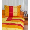 Klasické posteľné bavlnené obliečky Pruhy červenožlté 140x200, 70x90cm