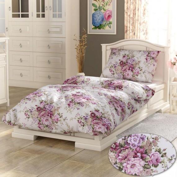 Predĺžené bavlnené obliečky PROVENCE COLLECTION 140x220, 70x90cm Ester ružová