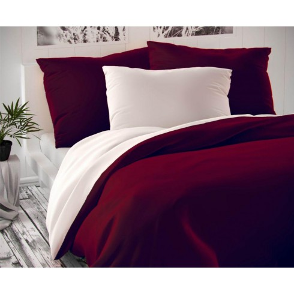 Saténové obliečky LUXURY COLLECTION bordó / biele 140x200, 70x90cm