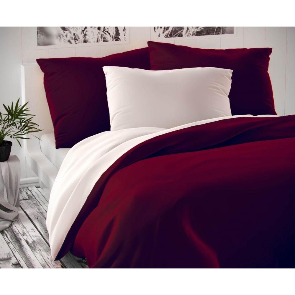 Saténové francúzske predĺžené obliečky LUXURY COLLECTION bordó / biele 1 + 2, 240x220, 70x90cm