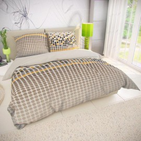 Klasické posteľné bavlnené obliečky VENTO hnedé 140x200, 70x90cm