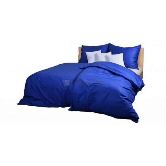 Ložní povlečení bavlněný satén tmavě modrý (LS154) Ložní povlečení 140x200 + 90x70 - (LS154)