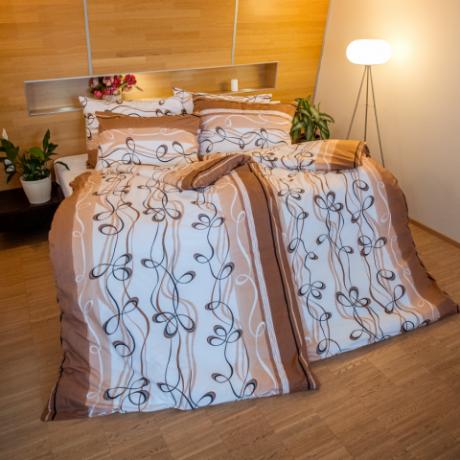 Posteľné obliečky bavlnené lana hnedá (LS140) posteľné návliečky 140x200 + 90x70 - (LS140)