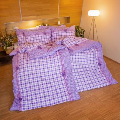 Bavlnená vyšívaná taška - srdiečko fialovové