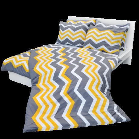 Posteľné obliečky bavlnené cikcak žltý (LS192) posteľné návliečky 140x220 + 90x70 - (LS192)