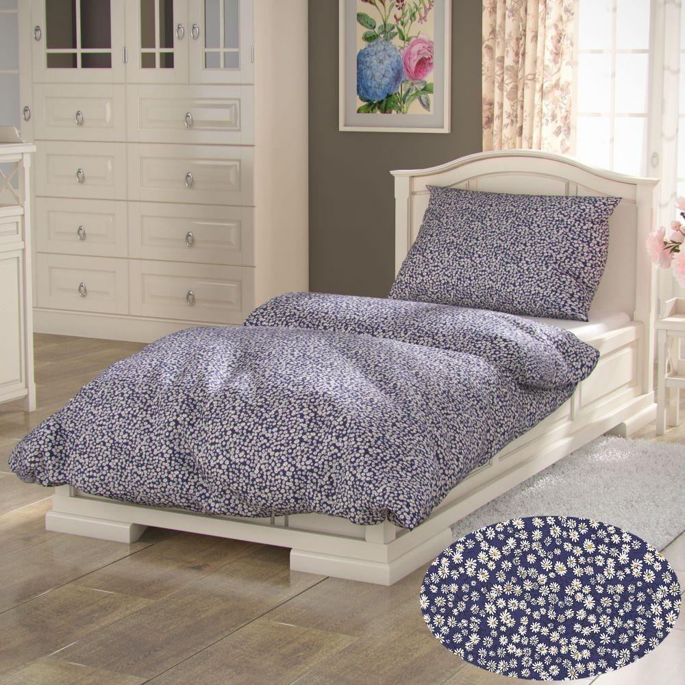 Predĺžené bavlnené obliečky PROVENCE COLLECTION 140x220, 70x90cm SEDMOKRÁSKA modrá