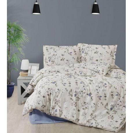 Predĺžené posteľné flanelové obliečky 140x220, 70x90cm NODE hnedé