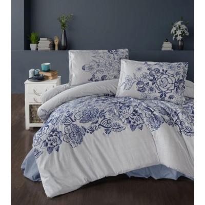 Klasické posteľné flanelové obliečky 140x200, 70x90cm MANDORA modrá