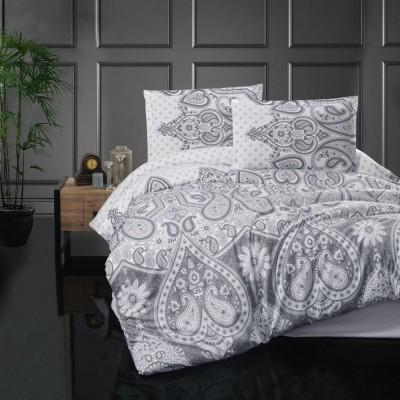 Predĺžené posteľné flanelové obliečky 140x220, 70x90cm AZKA sivá