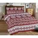Klasické posteľné flanelové obliečky 140x200, 70x90cm VLOČKY bordó